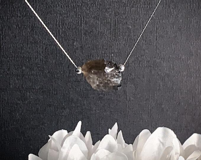 Raw Smoky Quartz Nugget Pendant Necklace, Grounding Necklace, Raw stone Pendant