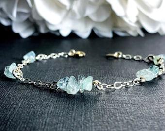 Raw Aquamarine Crystal Satellite Bracelet, Ankle Bracelet