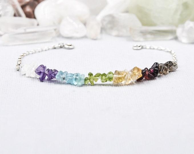 7 Chakra Bracelet Chakra Jewelry Raw Crystal Bracelet Raw Chakra Stones Seven Chakras 7 Chakras Colorful Bracelet Rainbow Bracelet Chakras