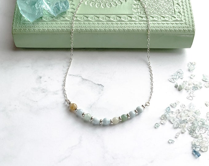 Silver Chain Aquamarine  Birth Stone Necklace Gemstone Choker