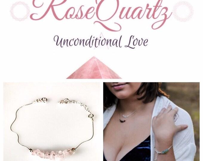 Raw Rose Quartz Bracelet, Dainty Anklet, Encouragement Gift, self love bracelet