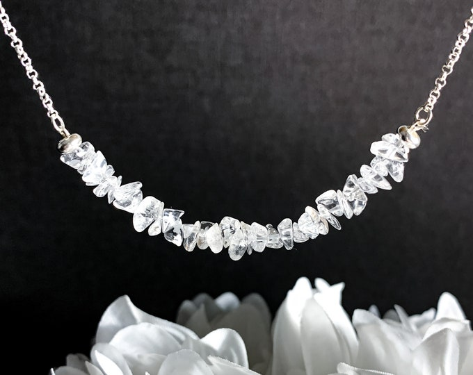 Clear Quartz Crystal Choker Necklace Raw Crystals Silver Jewelry Energy Statement Necklace Girlfriend Gift Gifts