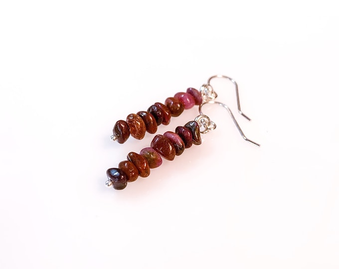 Raw Ruby Earrings Prosperity Jewelry, Raw crystal earrings, July Birthstone, pineal gland