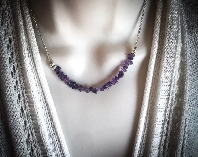 Amethyst Anxiety Relief Silver Bar Necklace