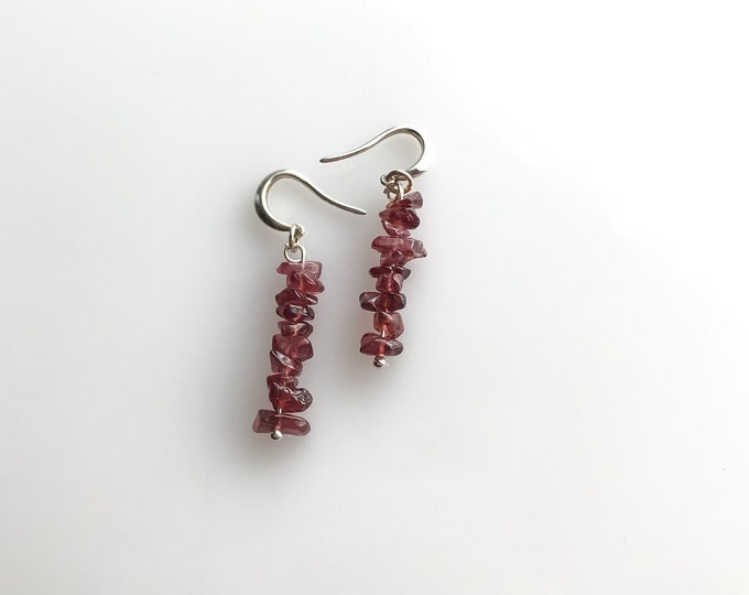 Red Garnet Raw Crystal Earrings, Raw Garnet Abundance Jewelry, January Birthstone