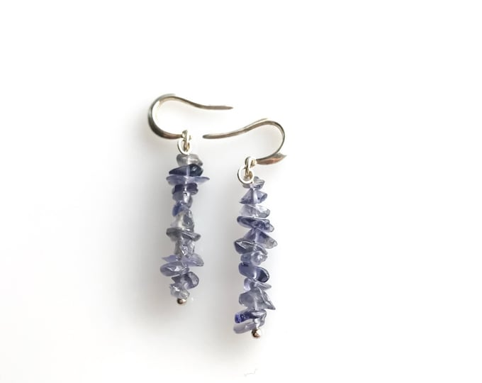 Iolite raw crystal earrings, Iolite earrings, anxiety jewelry, detox stress relief