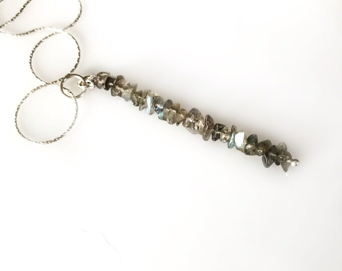 Labradorite Pendant Mindfulness Gift, Calming Necklace Gem Bar Necklace, Grounding Jewelry