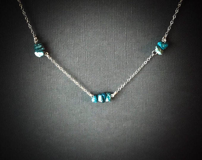 Raw Turquoise Satellite Chain Protection Necklace