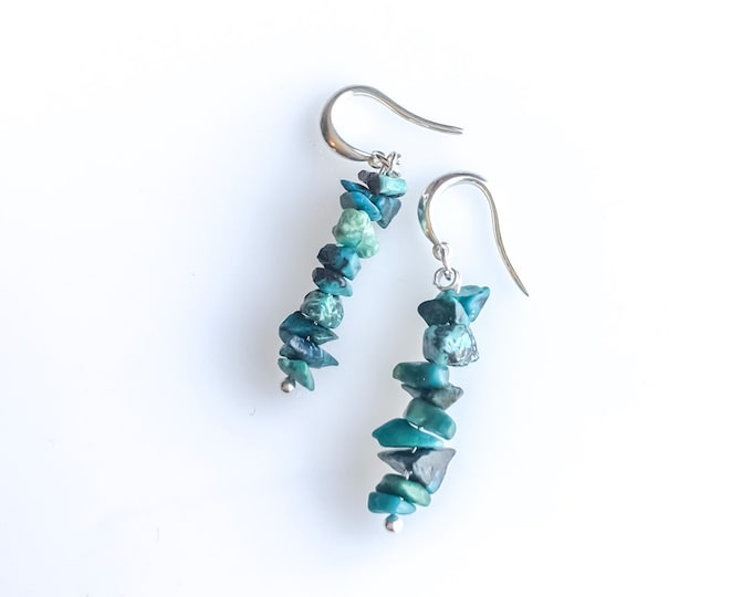 Raw Chrysocolla Earrings, Calming stones, soothing stone, raw crystal earrings