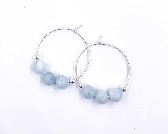 Aquamarine Beaded Small Hoop Earrings, Silver Hoops