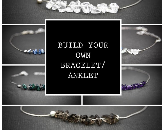 Family Birthstone Personalized Crystal Healing Build Your Own Bracelet Ankle Bracelet