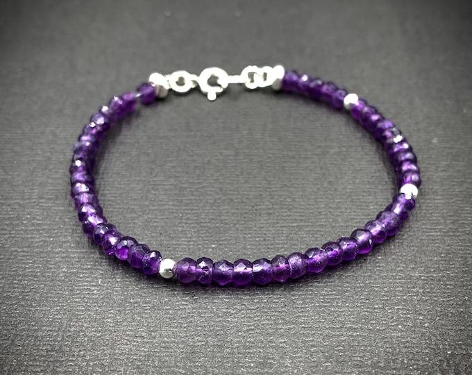 Natural Amethyst Crystal Dainty Bead Birthstone Bracelet
