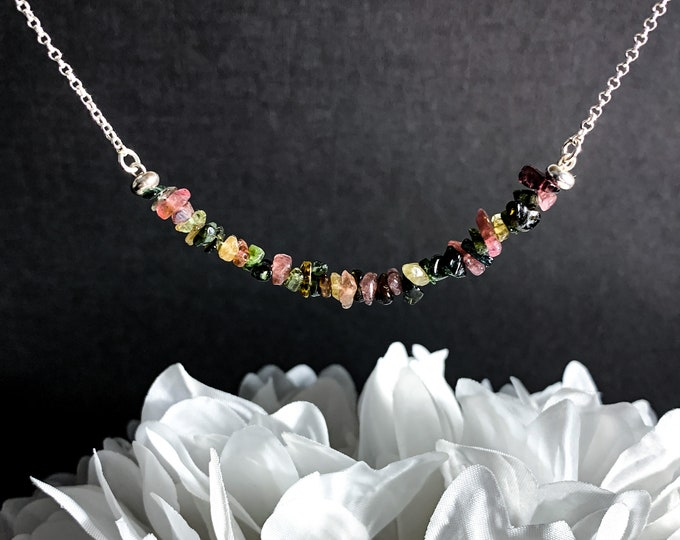 Raw Tourmaline Crystal Birthstone Necklace October Birthstone Beaded Jewelry Transformation Gifts for Her