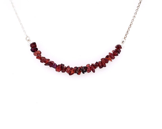 Raw Garnet Choker Necklace, January Birthstone Crystal necklace, Garnet gemstone jewelry for healing balance and self confidence