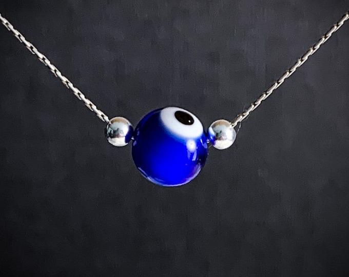 Evil Eye Protection Necklace, Turkish Evil Eye Minimalist Charm Protective Pendant Necklace
