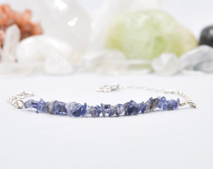 Iolite Raw Blue Bracelet Throat Chakra Everyday Bracelet Layering Bracelet Bridesmaids Bracelet Stacking Bracelets Bridesmaids Gift