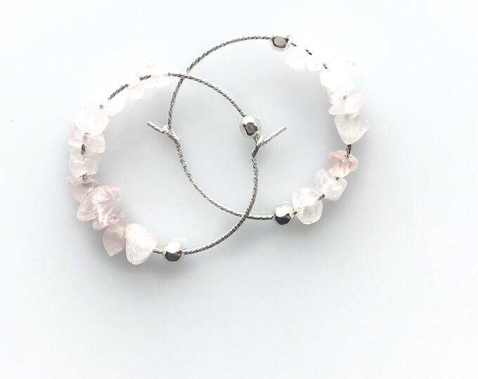 Rose Quartz Earrings, Mindfulness Gift, small hoop earrings, AnxietyJewelry Gift, Fertility