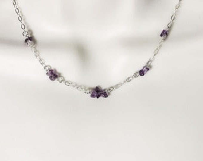 Silver and Amethyst Necklace Satellite Chain Station Necklace