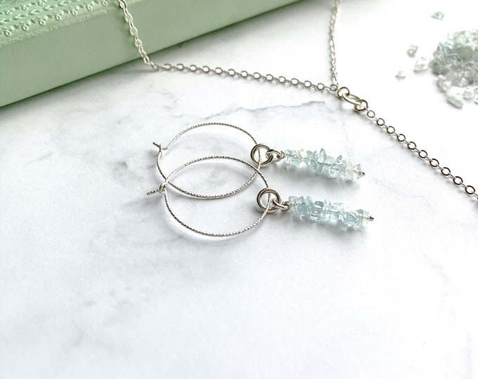Raw Crystal Aquamarine Thin Hoop Dangle Earrings