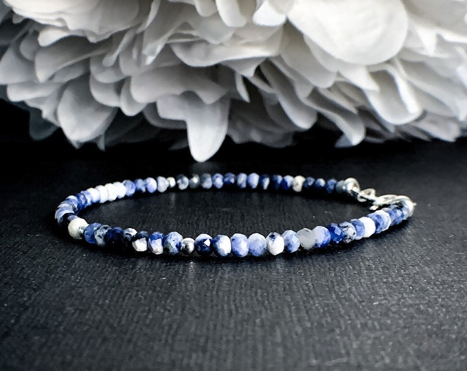 Dainty Sodalite Bracelet Healing Crystals for Calm