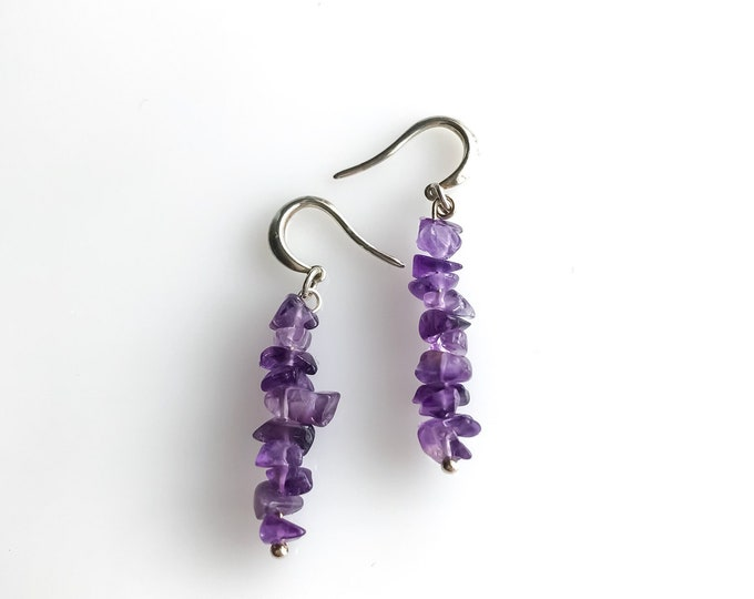 Amethyst Earrings Aquarius Birthstone Empath Protection, Third Eye Anxiety Crystals