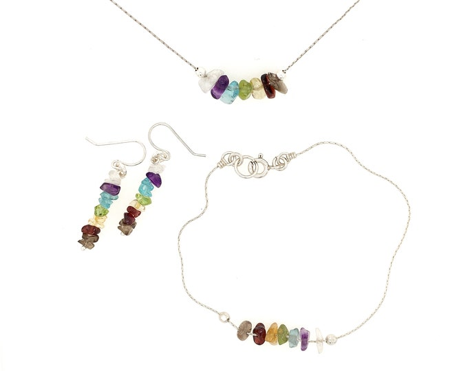 7 Chakra Jewelry Set Sterling Silver Necklace, Bracelet, Anklet, Earrings