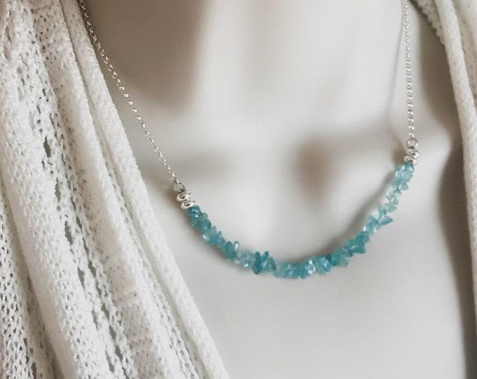 Raw Apatite Crystal Bar Choker Blue Apatite weight loss jewelry
