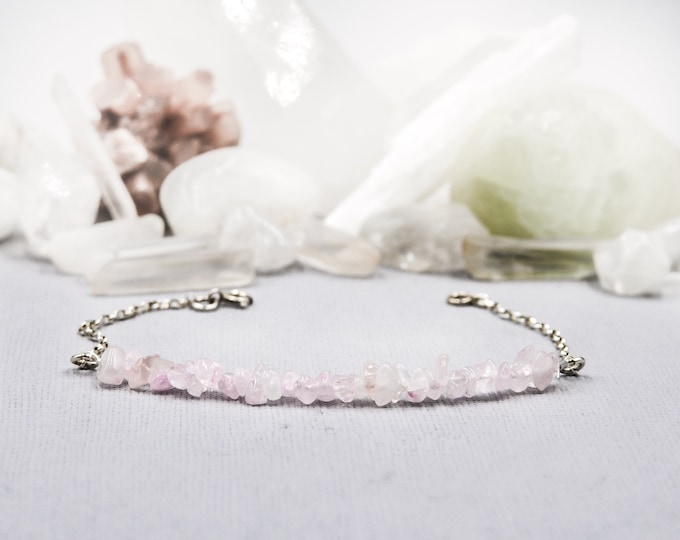Rose Quartz Bracelet for Women - Healing Jewelry, Love Energy, Stacking Bracelet, Gift for Wife, Sentimental Gifts, Heart Chakra