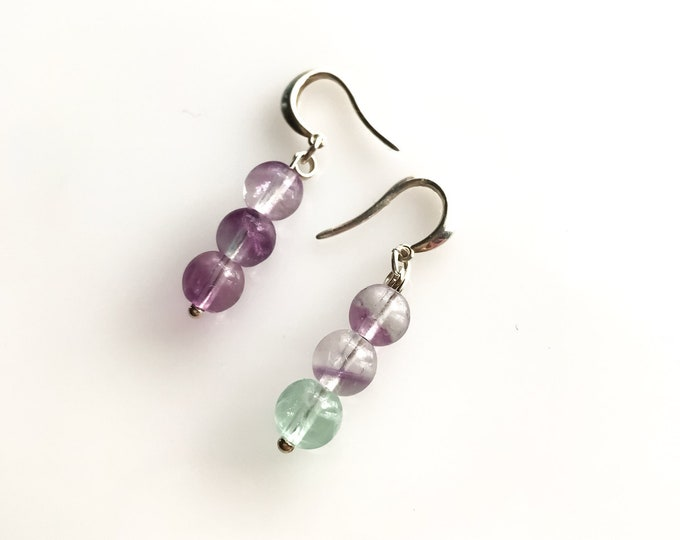 Fluorite Earrings, Empath Jewelry, rainbow fluorite, purple fluorite, green fluorite