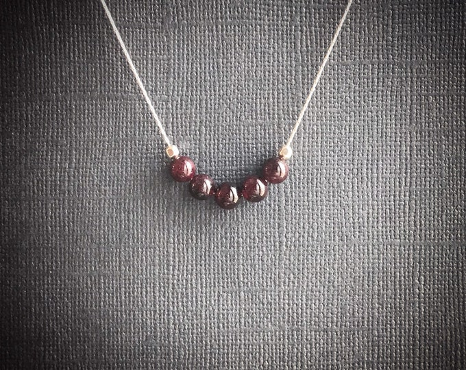 Garnet Necklace Healing Crystals Grounding Necklace