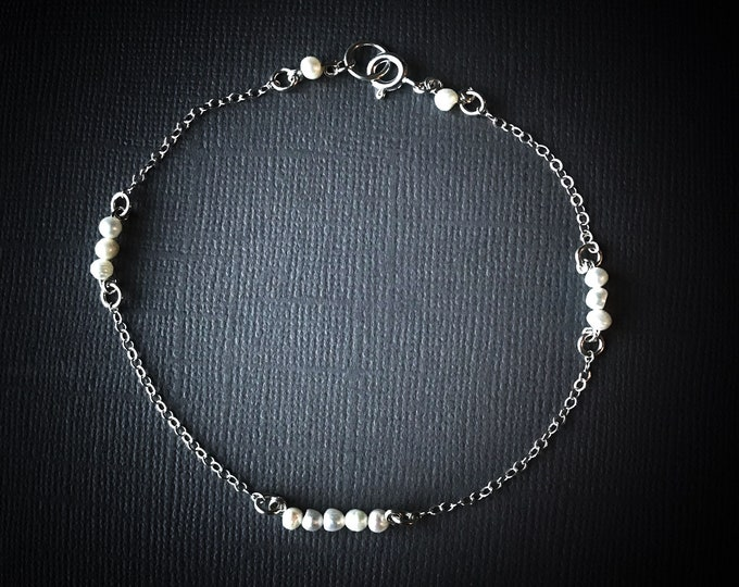 Floating Pearl Satellite Chain Dainty Bead Bracelet, Anklet