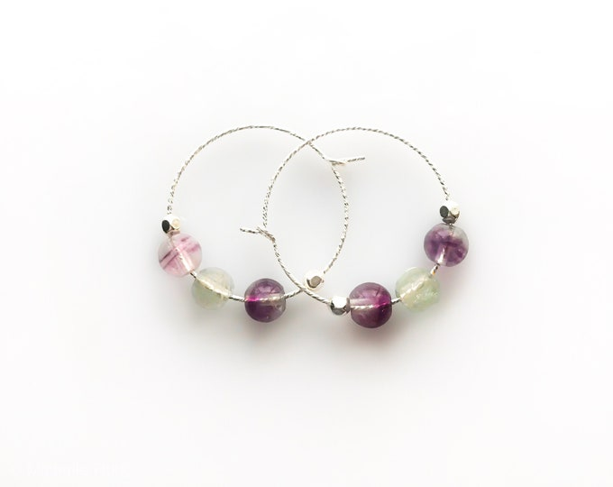 Rainbow Fluorite Earrings, Anxiety Relief, Empath Jewelry, Pisces Birthstone