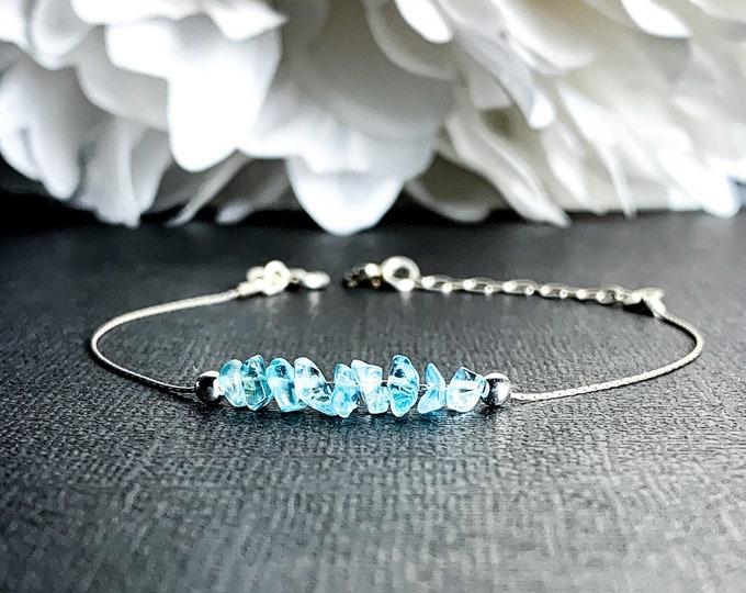 Raw Blue Apatite Dainty Bracelet Ankle Bracelet