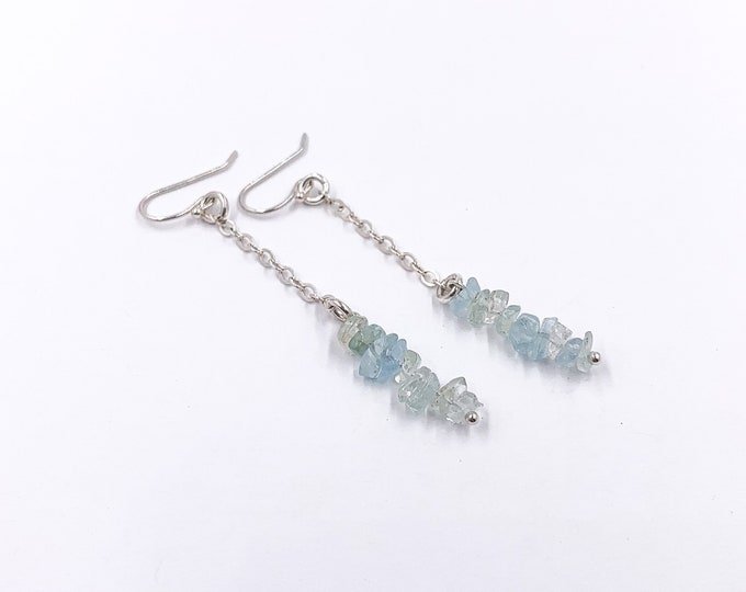 Raw Aquamarine Crystals Chandelier Earrings March Birthday Birthstone Jewelry