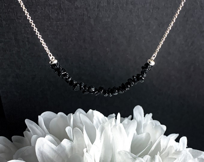 Black Tourmaline Choker Necklace Silver Chain Raw Tourmaline Crystal Jewelry Grounding Gifts for Mom Gift for Mom