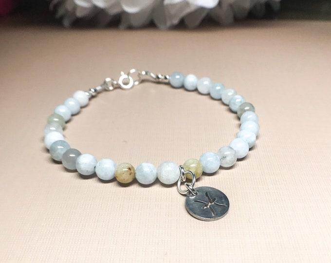 Pisces Zodiac Bracelet, March Birthday Aquamarine Bracelet