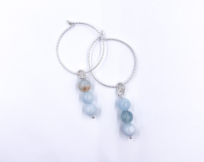 Genuine Aquamarine Crystal Beaded Silver Hoop Dangle Earrings