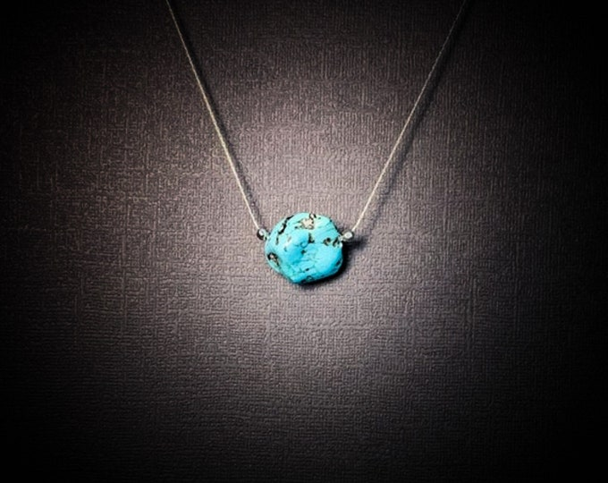 Genuine Turquoise Nugget Raw Stone Necklace, Turquoise Jewelry December Birthstone
