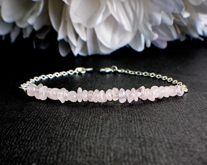 Rose Quartz Bracelet for Women - Healing Jewelry, Love Energy, Stacking Bracelet, Gift for Wife, Sentimental Gifts, Heart Chakra