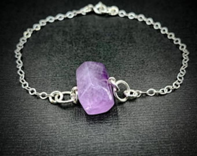 Amethyst Barrel Nugget Natural Crystals Anxiety Bracelet