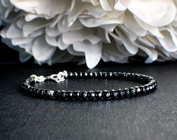 Natural Hematite Crystal Bracelet in Sterling Silver