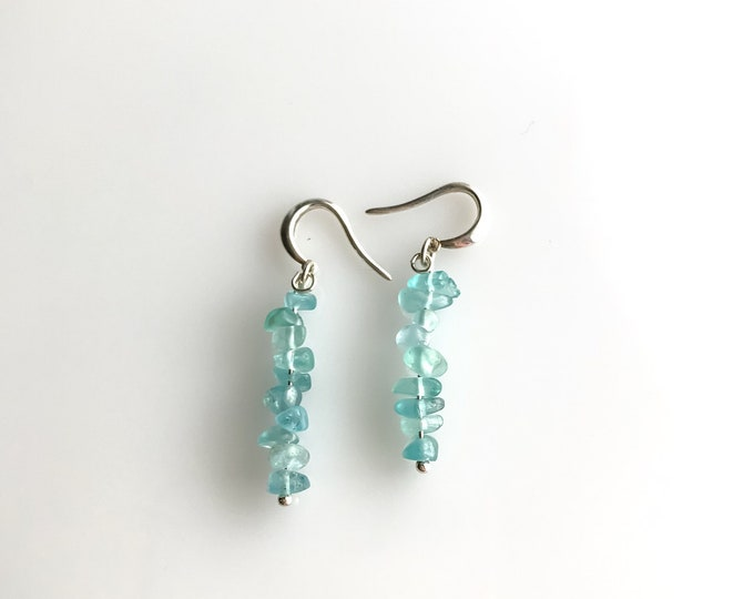 Apatite Earrings raw crystal earrings, Encouragement Gift, Weight loss Gift, Throat Chakra