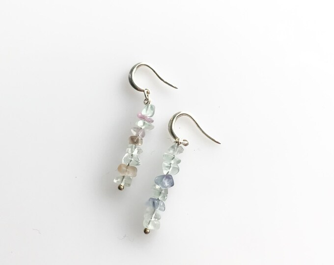 Rainbow Fluorite raw crystal earrings, empath jewelry, spiritual stones, mindfulness jewelry