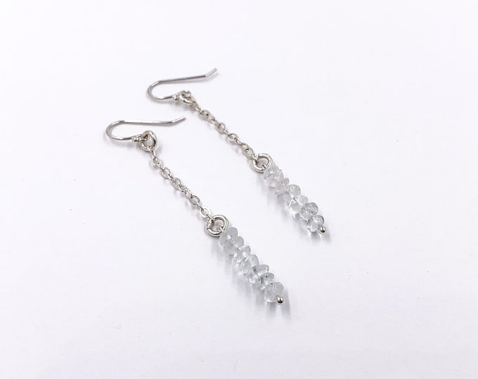 Dainty Aquamarine Crystal Threader Chain Earrings, Chandelier Earrings