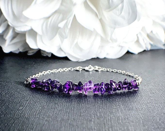 Amethyst Bracelet Anxiety Jewelry Empath Anxiety February Birthstone Empath Protection Calming Bracelet Anxiety Bracelet Amethyst Jewelry