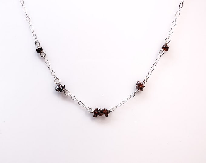 Raw Garnet Necklace Satellite Chain Emapth Jewelry