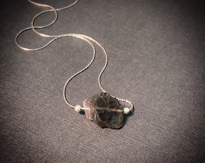 Raw Smoky Quartz Nugget Pendant Necklace, Grounding Necklace, Raw stone Pendant