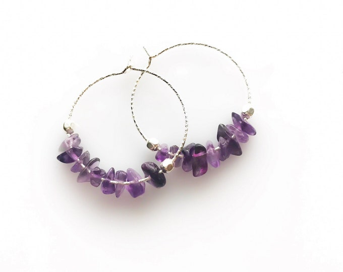 Anxiety Relief Amethyst Small Hoop Earrings Aquarius February Birthstone Anxiety Jewelry