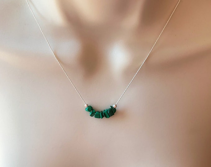 Raw Malachite stone Protective Jewelry, Malachite Necklace Crystal Choker