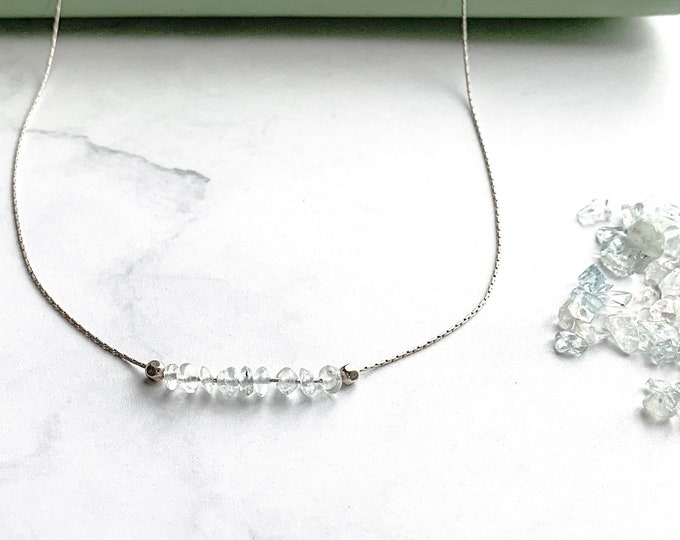 Aquamarine Crystal Dainty Choker Birthstone Thin Silver Necklace